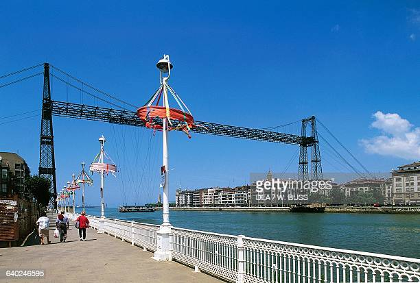 Vizcaya Bridge or Puente Colgante which connects Portugalete to Las Arenas, Nervion River, near Bilbao, Basque Country, Spain, 19th century.