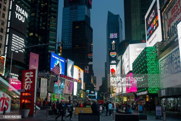 """Vizio"""" signage is displayed on digital billboards in Times Square on the day Vizio IPO is listed on the New York Stock Exchange on March 25, 2021 in..."""