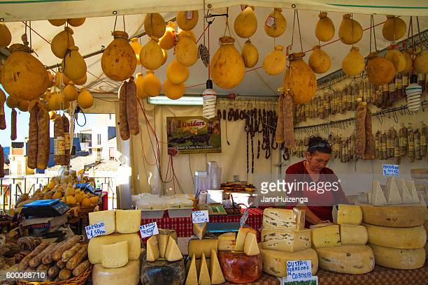 vizzini, sicily: cheese booth at ricotta festival - catania stock photos and pictures
