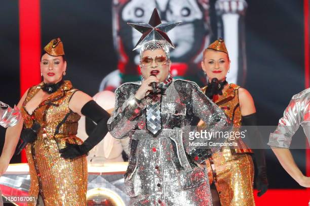 Vjerka Serdjučka performs live on stage during the 64th annual Eurovision Song Contest held at Tel Aviv Fairgrounds on May 18 2019 in Tel Aviv Israel