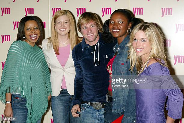 VJs and news anchors Tracie Strahan Brianna Keiler George Oliphant Mimi Kalinda and Maria Sansone arrive at the 5th Annual YM MTV Issue party at...