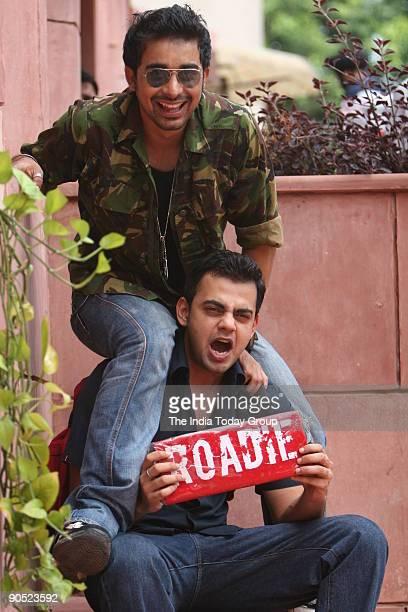 VJs Cyrus Sahukar and Rannvijay Singh during MTV Roadies audition at Shah Auditorium