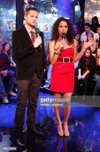 """VJs Damien Fahey and Susie Castillo speak during MTV's TRL """"Total Finale Live"""" at the MTV Studios in Times Square on November 16, 2008 in New York..."""