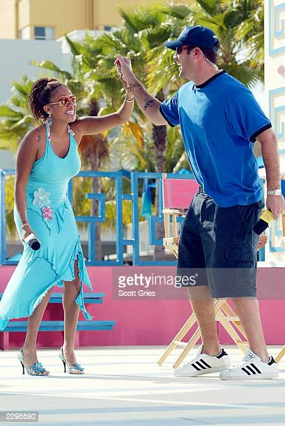 VJs La La and Carson Daly appear during a taping for MTV Spring Break 2003 at the Surfcomber Hotel March 13 2003 in Miami Beach Florida