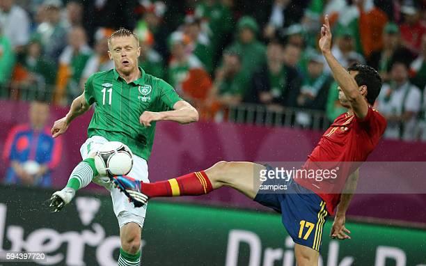 Damien Duff , Alvaro Arbeola Fussball EM 2012 Gruppe C : Spanien - Irland UEFA EURO 2012 group C : Spain - Republic of Ireland 14.6.2012 PGE Arena...