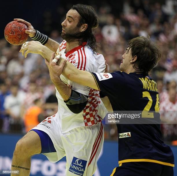 Ivano BALIC , Viran MORROS Handball Männer Europameisterschaft 2012 in Serbien Hauptrunde : Spanien - Kroatien 10 th mens european championchip in...