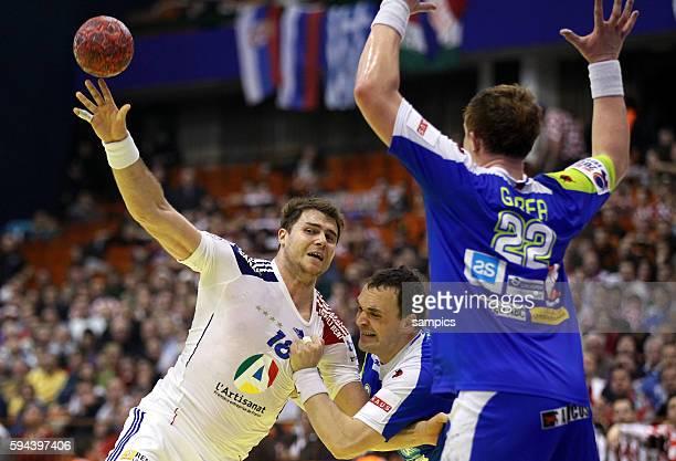 William ACCAMBRAY , Matej GABER Handball Männer Europameisterschaft 2012 in Serbien Hauptrunde : Frankreich - Slowenien 10 th mens european...