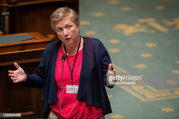 Vlaams Belang's Dominiek Spinnewyn-Sneppe pictured during a plenary session of the chamber at the federal parliament in Brussels, Thursday 17 June...