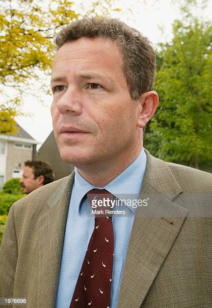 Vlaams Blok Chairman Frank Van Hecke attends a memorial for Dutch politician Pim Fortuyn May 6 2003 at Baarle Hertoch Belgium The Belgian right wing...