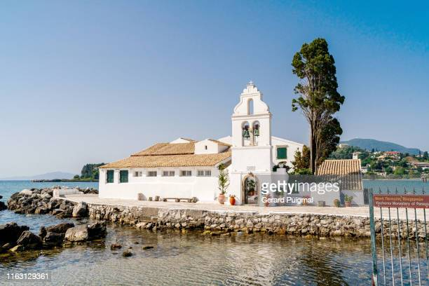 vlacherna monastery in corfu (greece) - corfu stock pictures, royalty-free photos & images