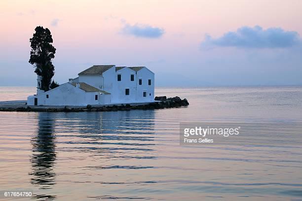 Vlacherna monastery in the morning, Corfu, Greece