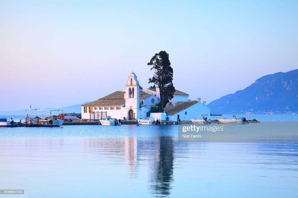 Vlacherna Monastery, Kanoni, Corfu, The Ionian Islands, Greek Islands, Greece, Europe : Stock Photo