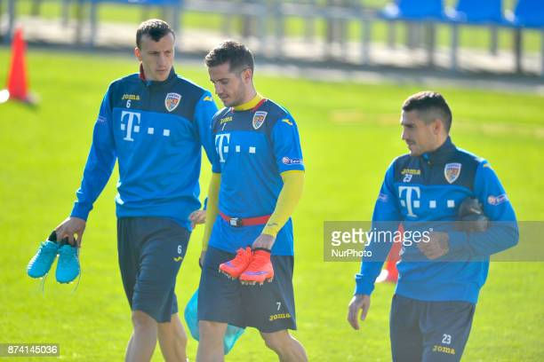 Vlad Chiriches Alexandru Chipciu Nicolae Stanciu of Romania Football Team during a training session at Mogosoaia Romania on 13 November 2017