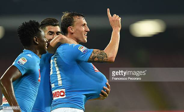 Vlad Chiriches of Napoli celebrates after scoring goal 20 during the Serie A match between SSC Napoli and Empoli FC at Stadio San Paolo on October 26...