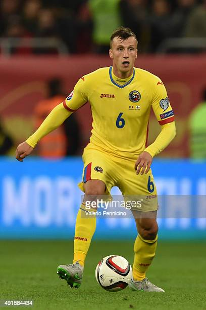 Vlad Chiriches of Romania in action during the UEFA EURO 2016 Qualifier between Romania and Finland on October 8 2015 in Bucharest Romania