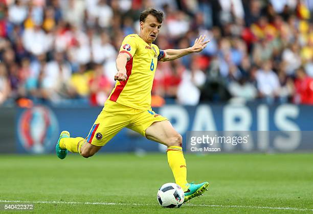 Vlad Chiriches of Romania in action during the UEFA EURO 2016 Group A match between Romania and Switzerland at Parc des Princes on June 15 2016 in...