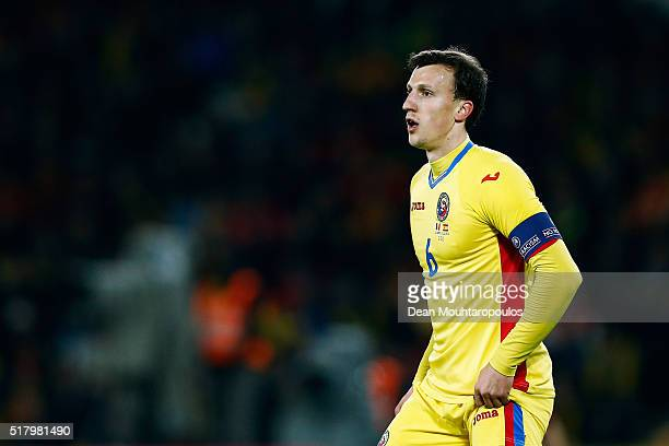 Vlad Chiriches of Romania looks on during the International Friendly match between Romania and Spain held at the Cluj Arena on March 27 2016 in...