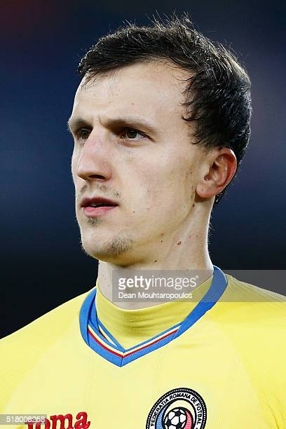 Vlad Chiriches of Romania looks on prior to the International Friendly match between Romania and Spain held at the Cluj Arena on March 27 2016 in...