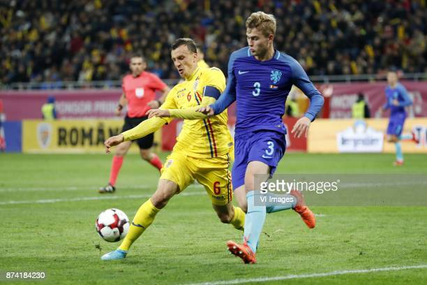 Vlad Chiriches of Romania Matthijs de Ligt of Holland during the friendly match between Romania and The Netherlands on November 14 2017 at Arena...