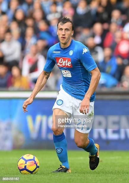 Vlad Chiriches of SSC Napoli during the Serie A match between SSC Napoli and US Sassuolo at Stadio San Paolo on October 29 2017 in Naples Italy