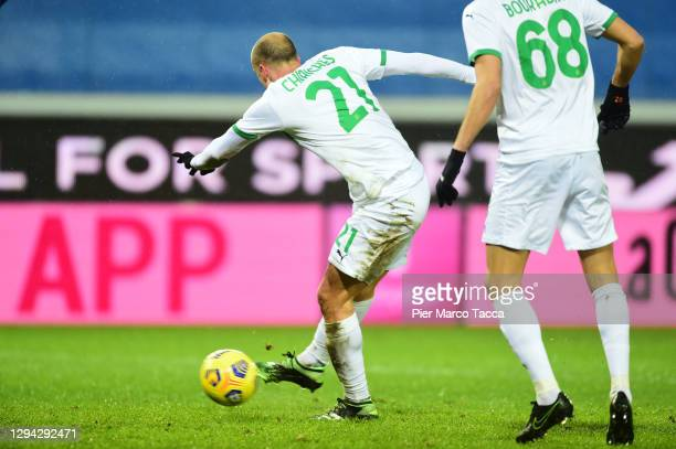 Vlad Chiriches of US Sassuolo scores their sides first goal during the Serie A match between Atalanta BC and US Sassuolo at Gewiss Stadium on January...