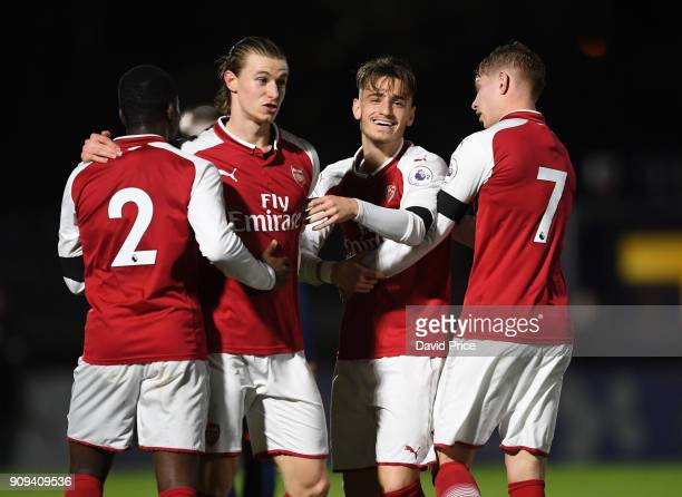 Vlad Dragomir celebrates scoring Arsenal's 1st goal during the Premier League International Cup Match between Arsenal and Bayern Munich at Meadow...