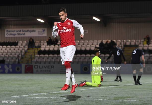 Vlad Dragomir celebrates scoring his and Arsenal's 2nd goal during the Premier League Two match between Arsenal U23 and West Ham United U23 at Meadow...