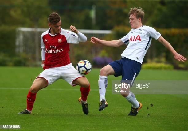 LR Vlad Dragomir of Arsenal and Oliver Skipp of Tottenham Hotspur during Premier League 2 Div 1 match between Tottenham Hotspur Under 23s against...