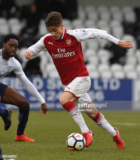 Vlad Dragomir of Arsenal during the match between Arsenal and Tottenham Hotspur at Meadow Park on March 10 2018 in Borehamwood England