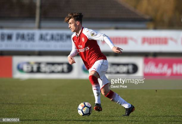 Vlad Dragomir of Arsenal during the match between Arsenal and Dinamo Zagreb at Meadow Park on February 24 2018 in Borehamwood England