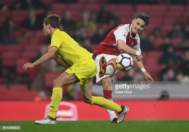 Vlad Dragomir of Arsenal during the match between Arsenal U23 and Villarreal U23 at Emirates Stadium on April 10 2018 in London England