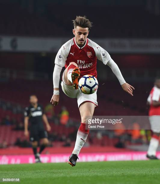 Vlad Dragomir of Arsenal during the match between Arsenal U23 and Swansea U23 at Emirates Stadium on April 13 2018 in London England