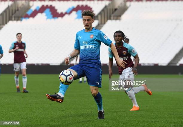 Vlad Dragomir of Arsenal during the match between West Ham United and Arsenal at London Stadium on April 20 2018 in London England