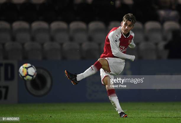 Vlad Dragomir of Arsenal during the Premier League 2 match between Arsenal and Everton at Meadow Park on February 5 2018 in Borehamwood England