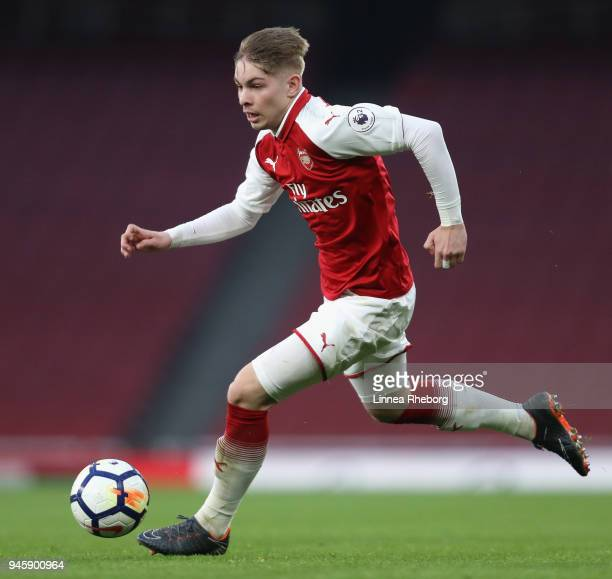 Vlad Dragomir of Arsenal in action during the Premier League 2 match between Arsenal and Swansea City at Emirates Stadium on April 13 2018 in London...