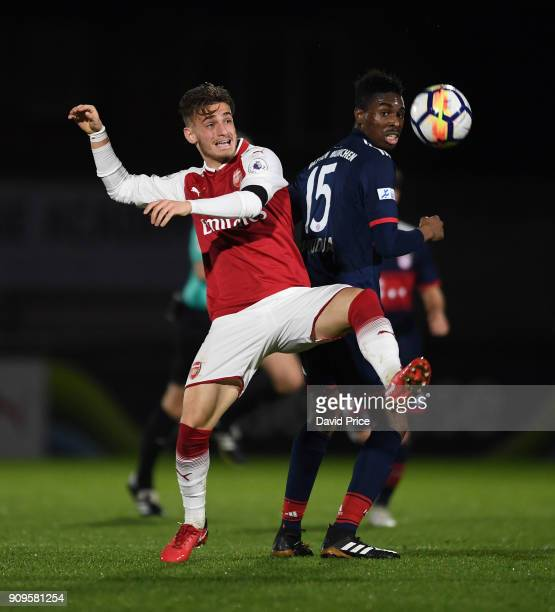 Vlad Dragomir of Arsenal is challenged by Maxime Awoudja of Bayern during the Premier League International Cup Match between Arsenal and Bayern...
