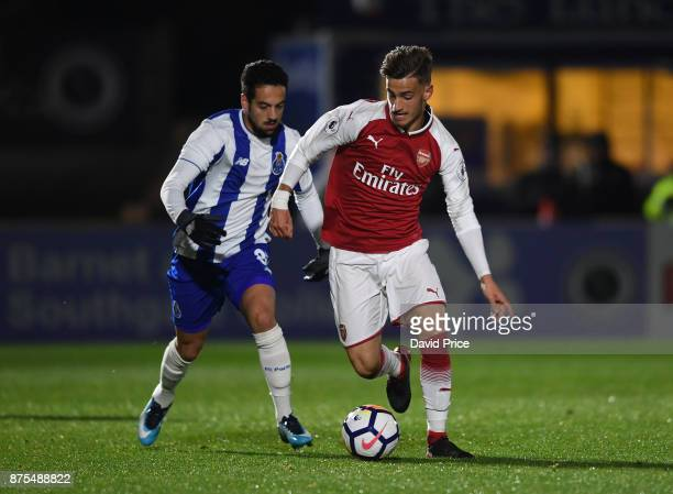 Vlad Dragomir of Arsenal takes on Bruno Costa of Porto during the match between Arsenal U23 and Porto at Meadow Park on November 17 2017 in...