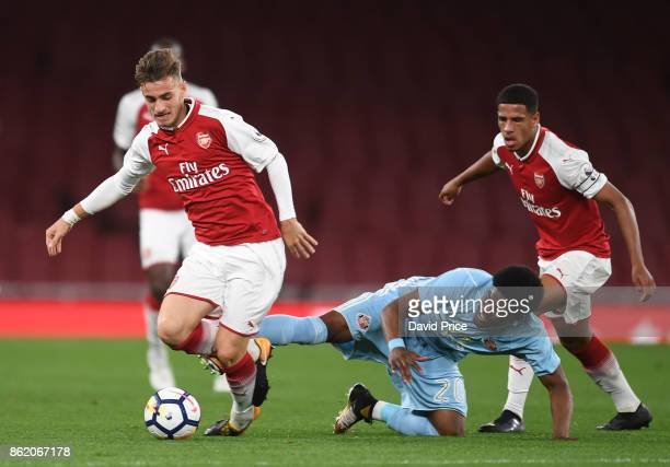 Vlad Dragomir of Arsenal takes on Josh Maja of Sunderland during the Premier League 2 match between Arsenal and Sunderland at Emirates Stadium on...