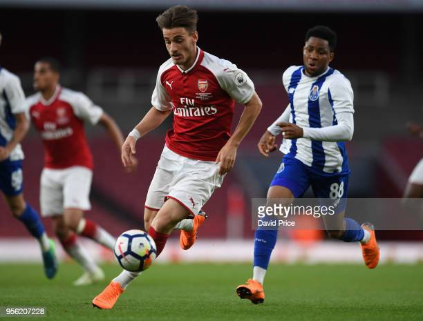 Vlad Dragomir of Arsenal takes on Musa Yahaya of Porto during the match between Arsenal and FC Porto at Emirates Stadium on May 8 2018 in London...