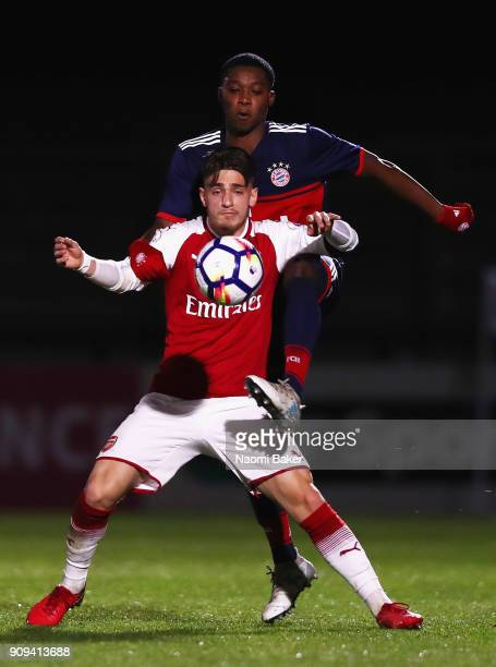 Vlad Dragomir of Arsenalin action during the Premier League International Cup match between Arsenal and Bayern Munich at Meadow Park on January 23...