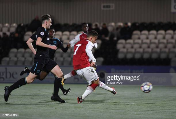 Vlad Dragomir scores his and Arsenal's 2nd goal during the Premier League Two match between Arsenal U23 and West Ham United U23 at Meadow Park on...
