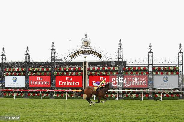 Vlad Duric riding Boomwaa crosses the line to win race 1 The Hong Kong Jockey Club Maribyrnong Plate during Emirates Stakes Day at Flemington...