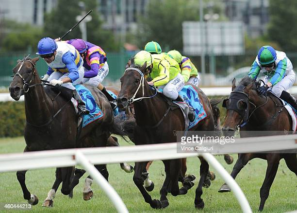 Vlad Duric riding Counted wins Race 4 during Melbourne Racing at Caulfield Racecourse on January 4 2014 in Melbourne Australia
