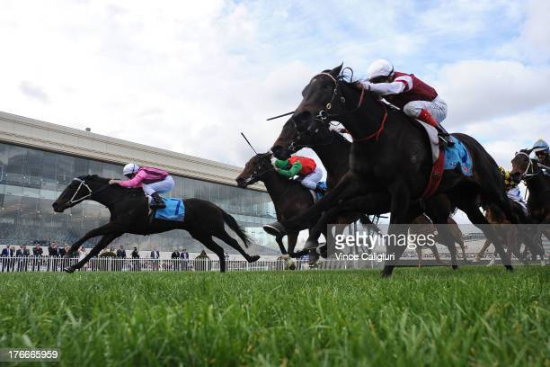 Vlad Duric riding Kiss a Rose wins the Quezette Stakes during Melbourne Racing at Caulfield Racecourse on August 17 2013 in Melbourne Australia