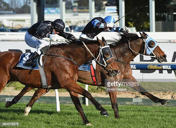 Vlad Duric riding Mourinho defeats Chris Parnham riding The Cleaner in Race 7 the PB Lawrence Stakes during Melbourne racing at Caulfield Racecourse...