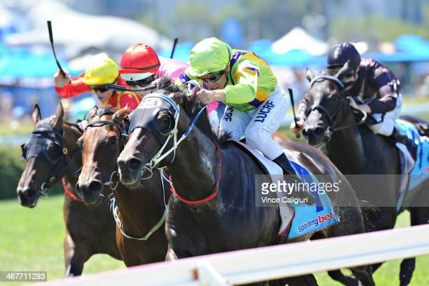 Vlad Duric riding Spirits Dance wins Race 4 the Kevin Hayes Stakes during Melbourne racing at Caulfield Racecourse on February 8 2014 in Melbourne...