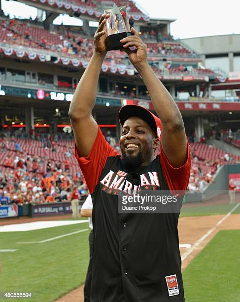 Vlad Guerrero with his MVP trophy during the 2015 MLB AllStar Legends and Celebrity Softball Game at Great American Ball Park on July 12 2015 in...