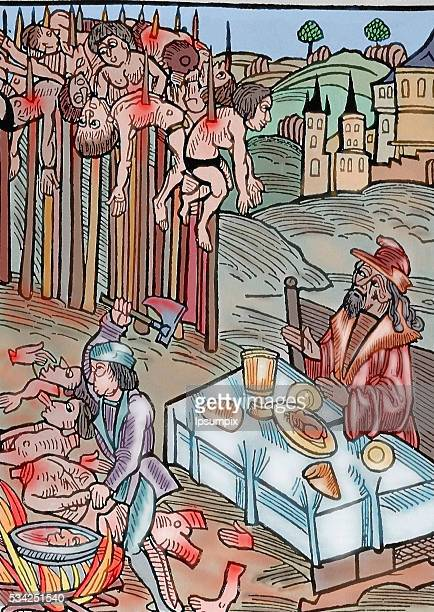 Vlad II known as Vlad Dracul Voivode of Wallachia Scene of the impalement Vlad Tepes or Vlad the Impaler is watching the operation from a table...