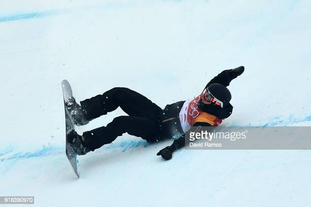 Vlad Khadarin of Olympic Athlete from Russia crashes during the Men's Slopestyle qualification on day one of the PyeongChang 2018 Winter Olympic...