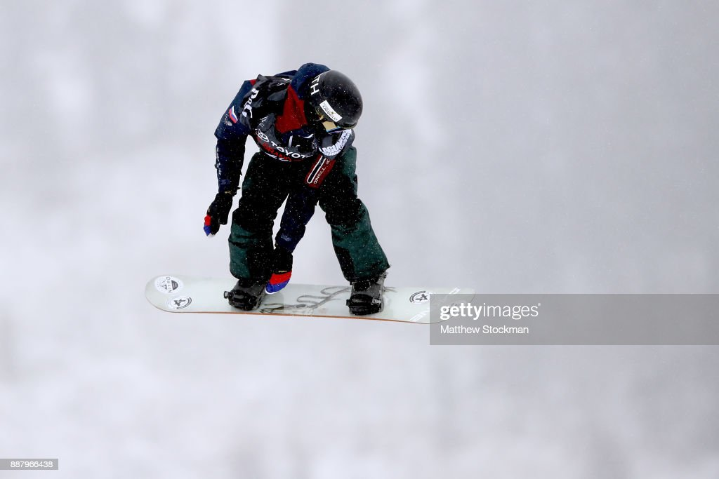 Vlad Khadarin #25 of Russia trains for the FIS World Cup 2018 Men's Snowboard Big Air during the Toyota U.S. Grand Prix on December 7, 2017 in Copper Mountain, Colorado.